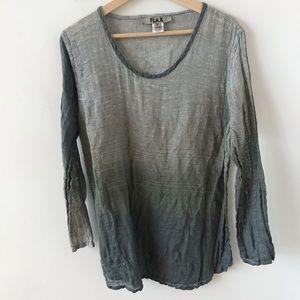 Flax striped ombré linen shirt
